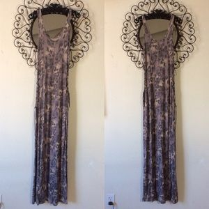 Cheetah print lace up suede maxi dress